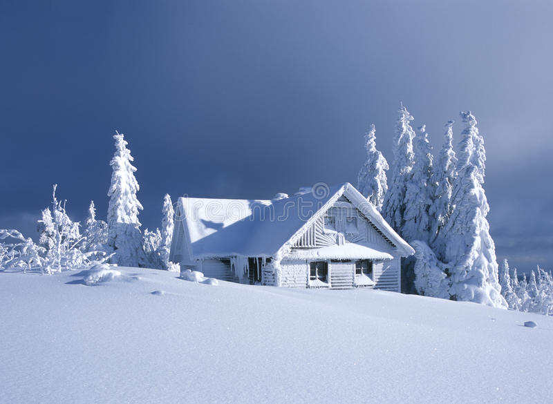 Cottage in winter. Orlicke hory, Czech Republic stock photography