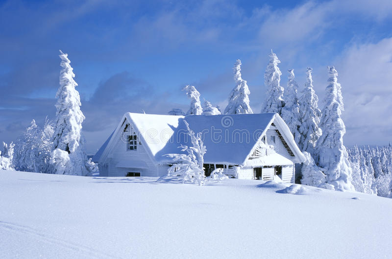 Cottage in winter. Orlicke hory, Czech Republic stock images