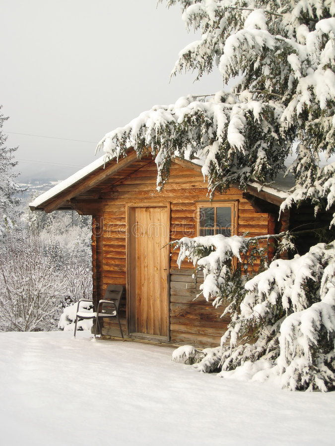 Cottage in Winter stock images