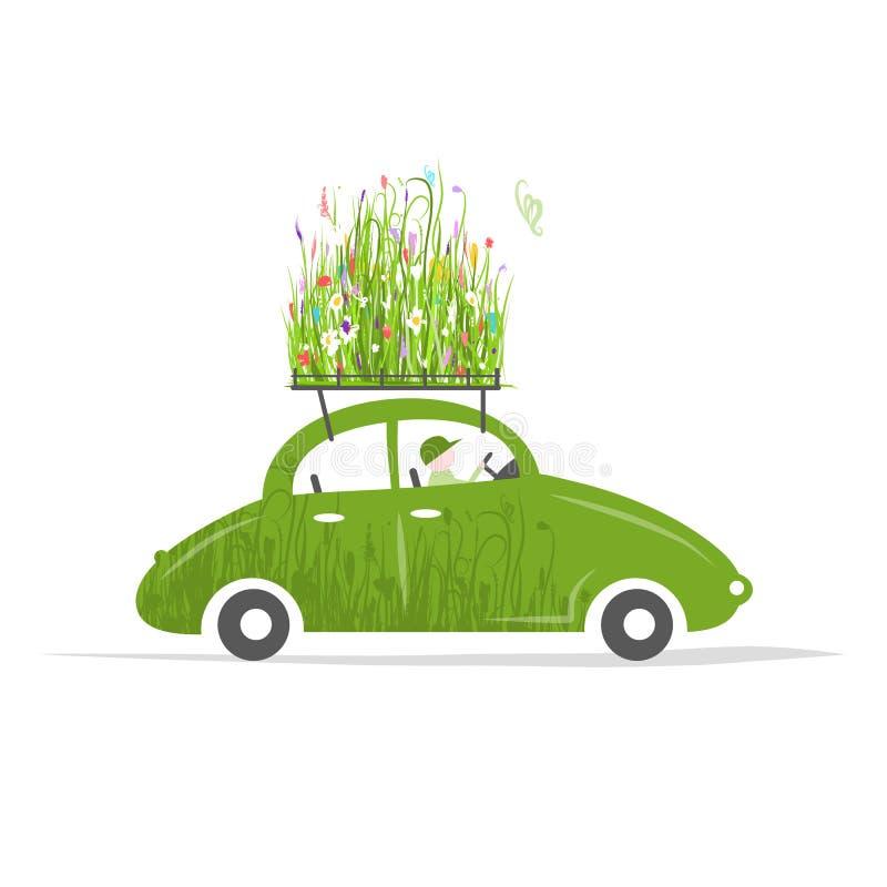 Cottager, der grünes Auto mit Anlagen auf Dach fährt stock abbildung
