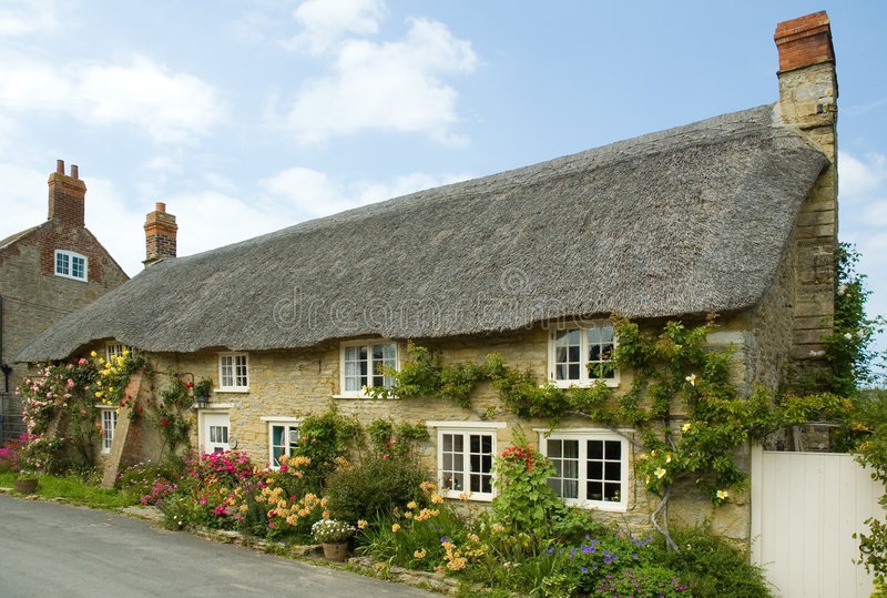 Download Cottages in Abbotsbury stock image. Image of pretty, purple - 3668809