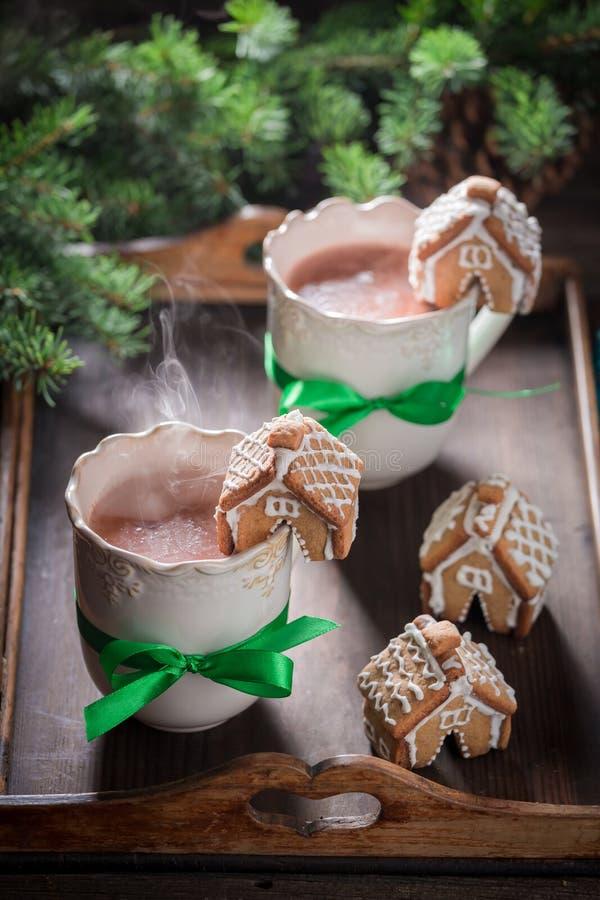 Cottages faits maison de pain d'épice avec du cacao savoureux pour Noël image libre de droits