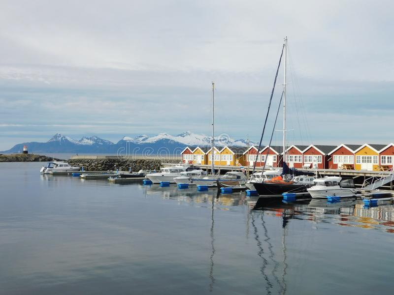 Cottages fishing near the coast under the Arctic Circle stock photos