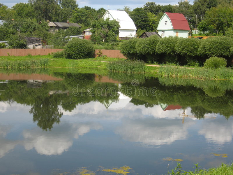 Cottages and lake stock photography
