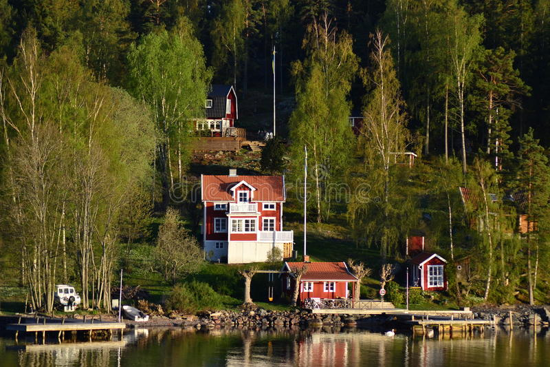 Cottages in Sweden stock image