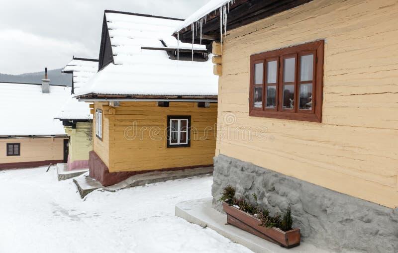 Cottages in village Vlkolinec, Slovakia stock photography