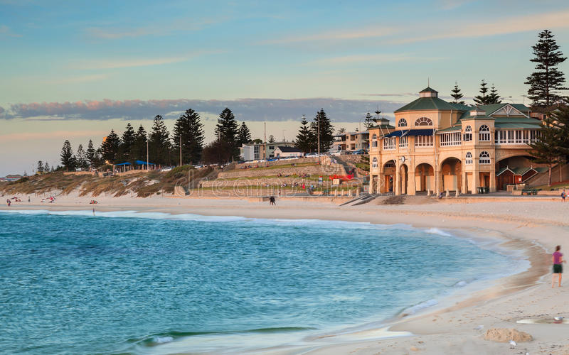 Cottesloe Beach in Perth at dusk royalty free stock photos