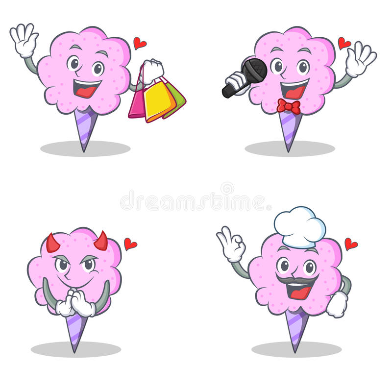 Cotton candy character set with shopping karaoke devil chef royalty free illustration