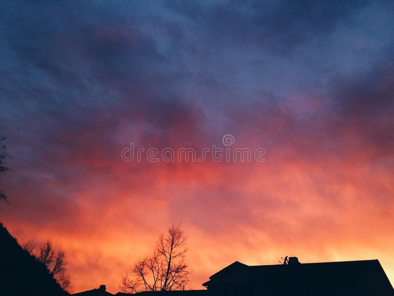 Cotton candy clouds royalty free stock image