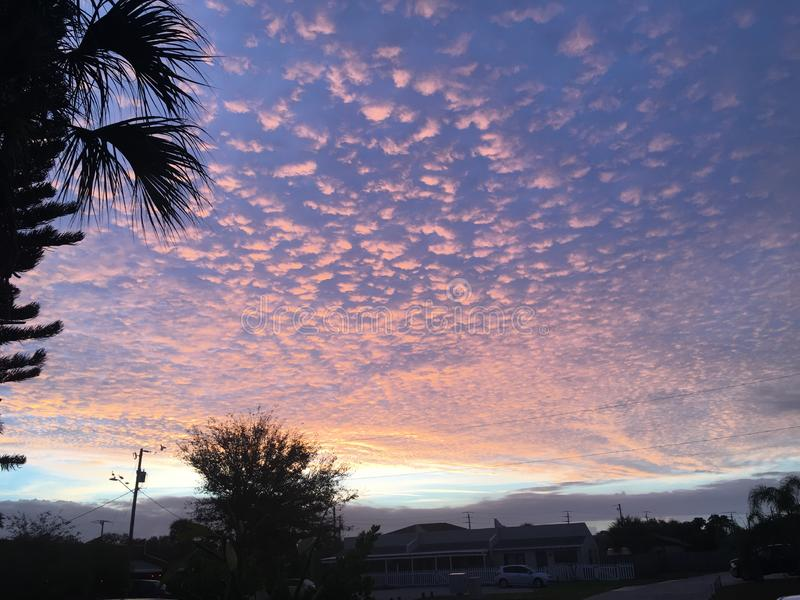 Cotton candy clouds. Florida sunset with cotton candy clouds royalty free stock photography