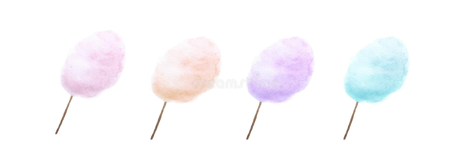 Cotton candy in four different colours. Watercolour painting of Cotton candy in four different colours stock illustration