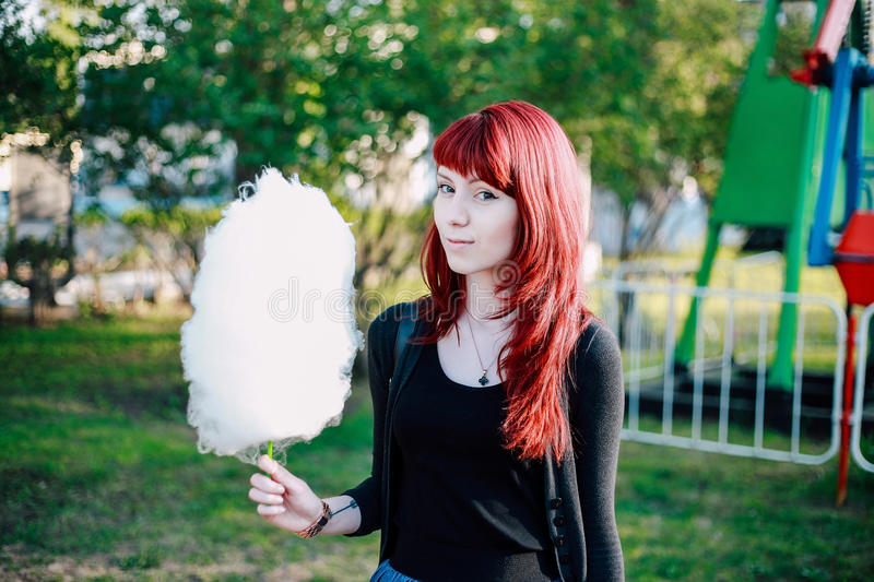 Cotton candy girl Park royalty free stock images