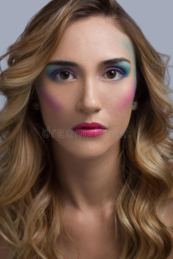 Cotton Candy Makeup Headshot stock images