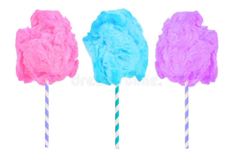 Cotton candy in pink, blue and purple colors isolated on white stock images
