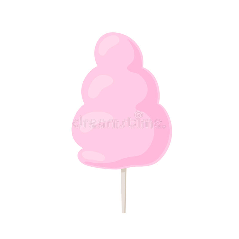 Cotton candy on stick. Cotton candy icon on stick. Sweet food, fairy floss. Sugar clouds symbol. Vector illustration in cartoon style isolated on white stock illustration