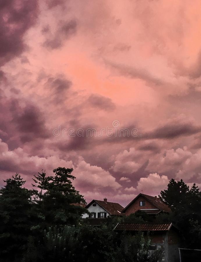 Cotton candy stormy is coming royalty free stock images