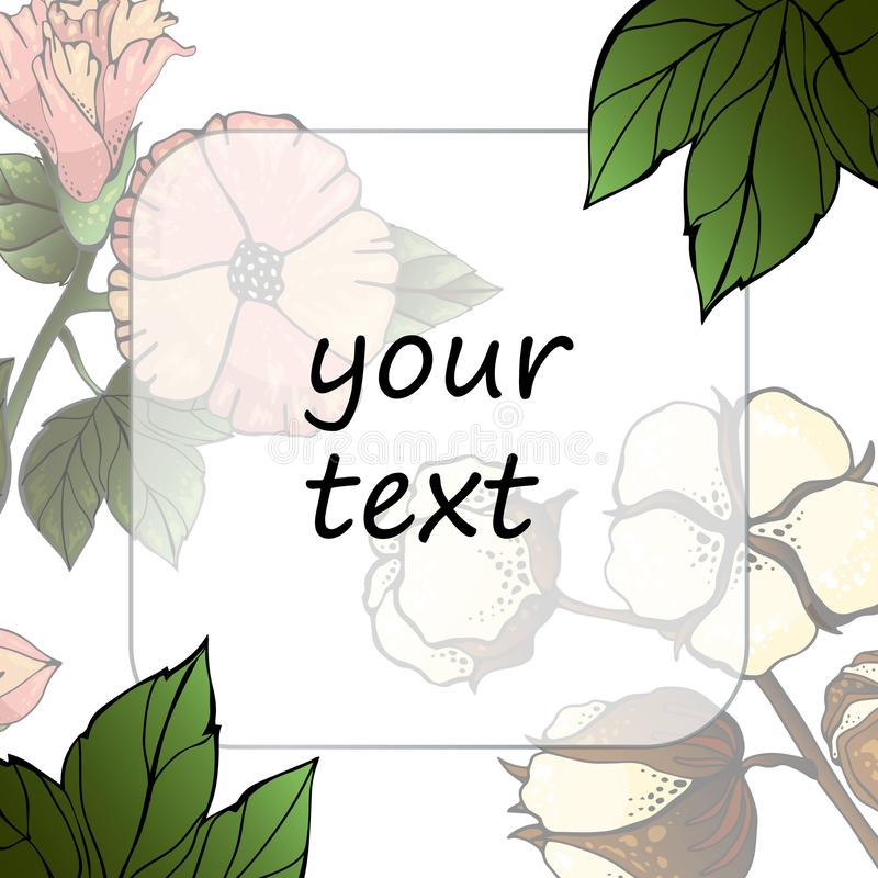 Cotton flower Wreath isolated on white background. Vector Element for your design. Vintage floral frame for Save the Date Card, stock illustration