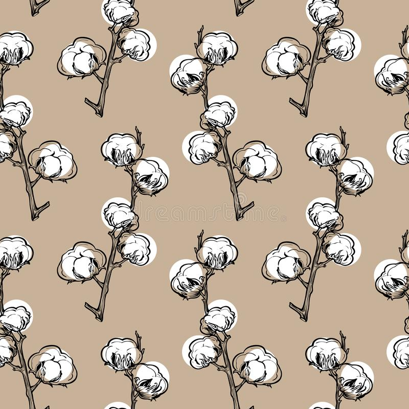Cotton flowers seamless pattern for wrapping paper or fabric. Cotton flowers seamless pattern. Cotton balls, cotton fiber vector illustration. Perfect for stock illustration