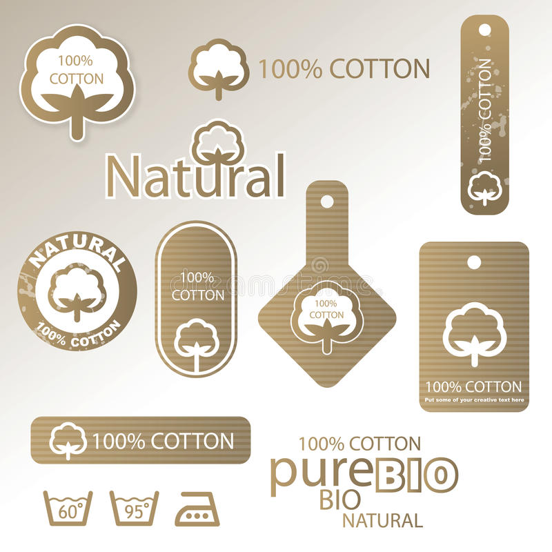 Cotton labels and tags royalty free illustration