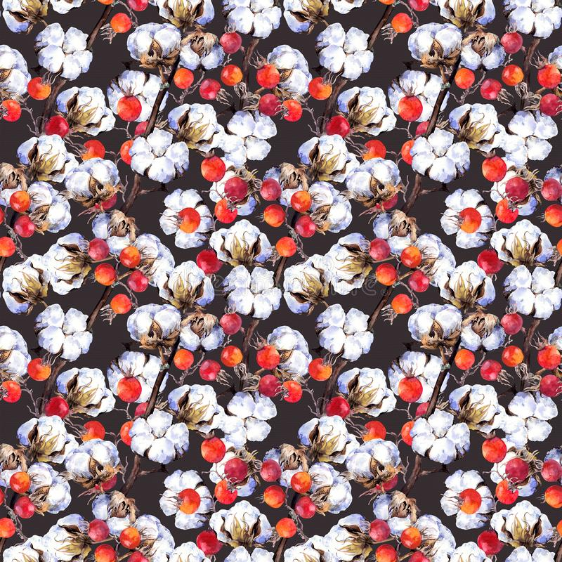 Cotton plant branches, red berries. Repeating pattern. Watercolor. Background stock illustration