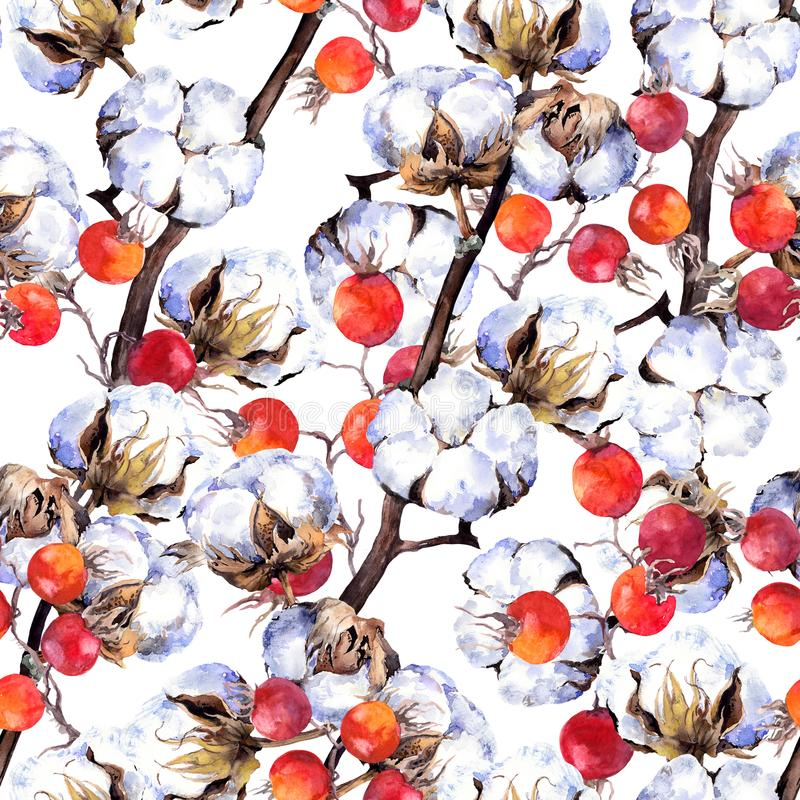 Cotton plant branches, red berries. Repeating pattern. Watercolor. Background vector illustration