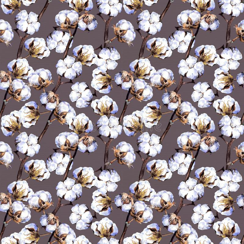 Cotton plant branches. Repeating pattern. Watercolor. Background stock photos
