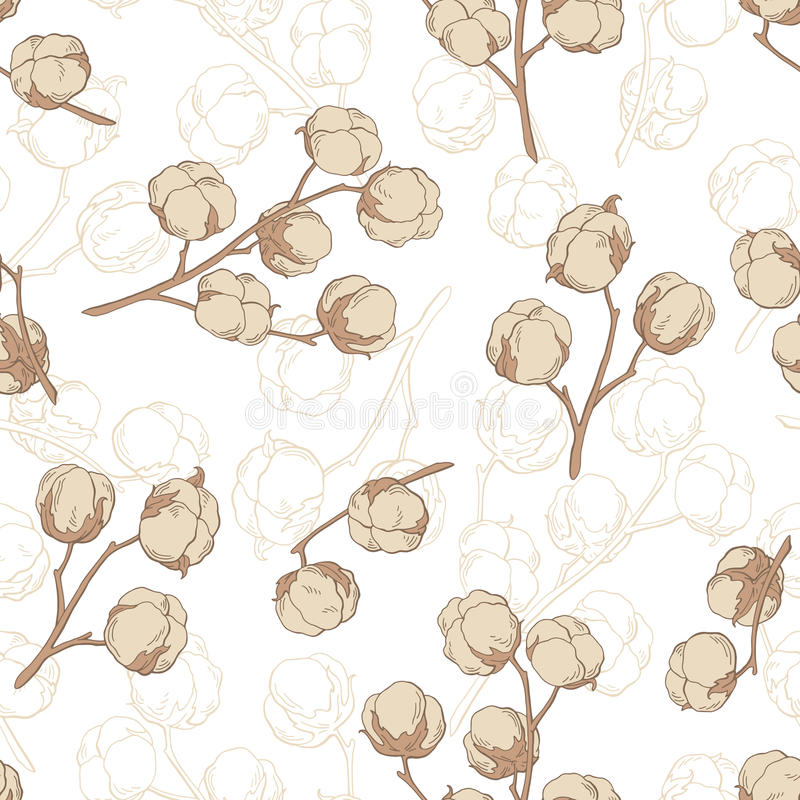 Cotton plant graphic beige color seamless pattern sketch illustration vector illustration