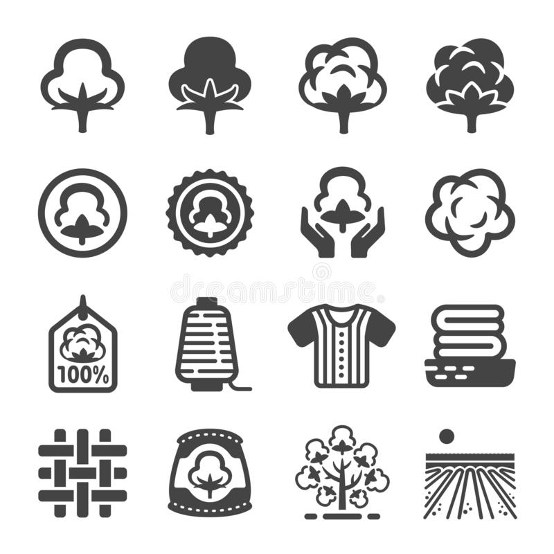 Cotton and product icon set stock illustration