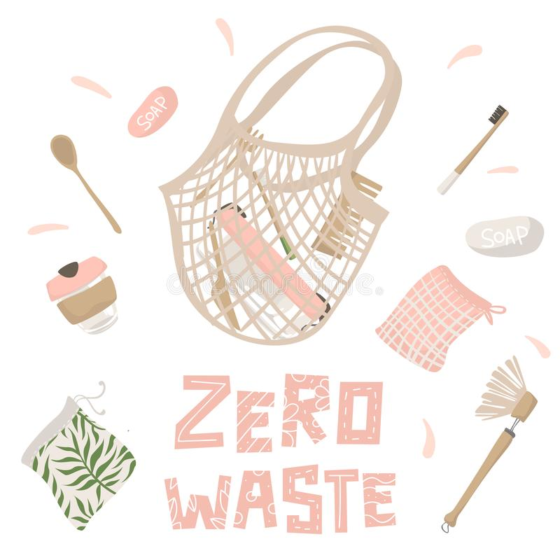 Cotton string bag and attributes of zero waste lifestyle. Isolated illustration vector illustration