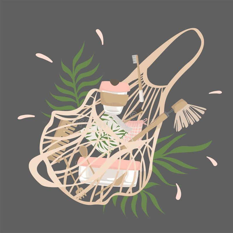 From cotton string bag with plants spilled out attributes of zero waste lifestyle. Illustration royalty free illustration