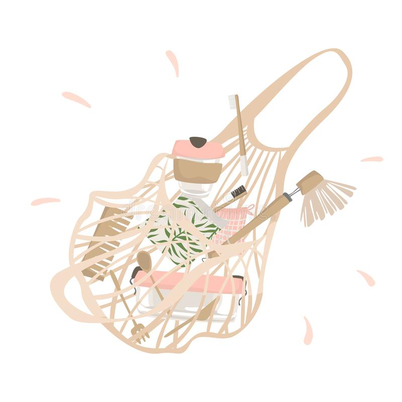 From cotton string bag spilled out attributes of zero waste lifestyle. Isolated illustration royalty free illustration