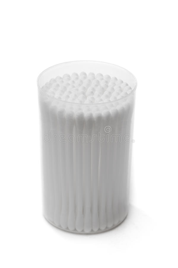 Cotton swabs in a plastic container stock photo
