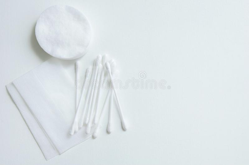Cotton swabs, wands and wipes. On a white background royalty free stock photos