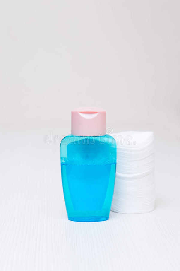 Cotton and tonic blue face wash on a white table at home stock photos
