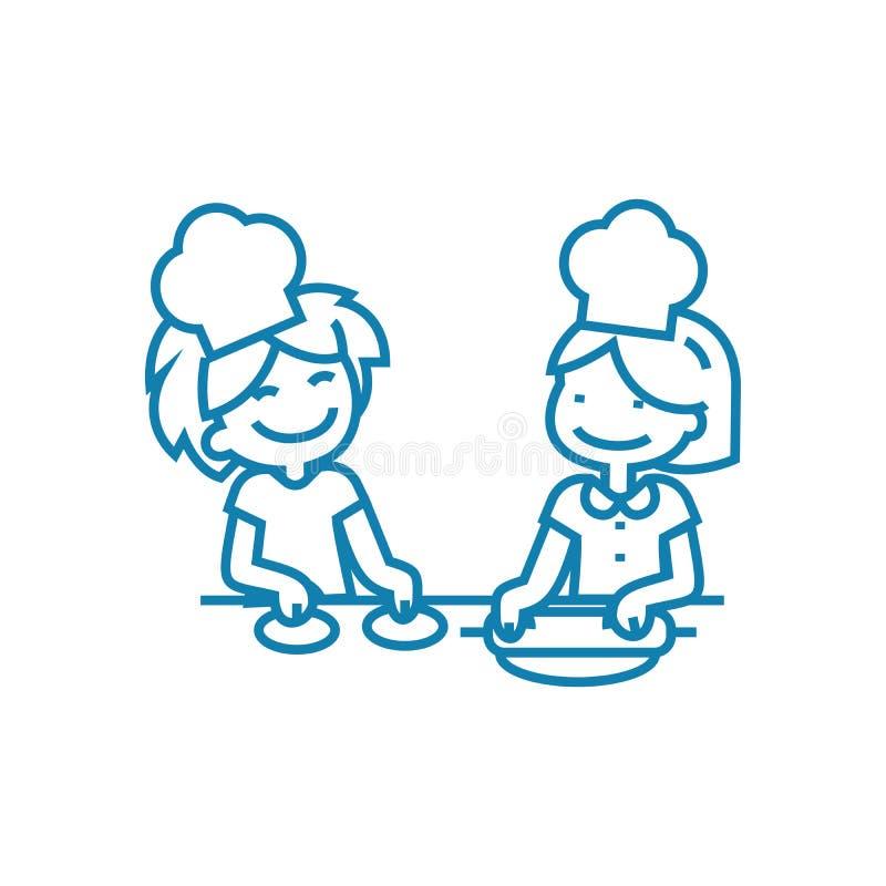 Cottura del concetto lineare di formazione dell'icona Cucinando l'addestramento allini il segno di vettore, il simbolo, illustraz royalty illustrazione gratis