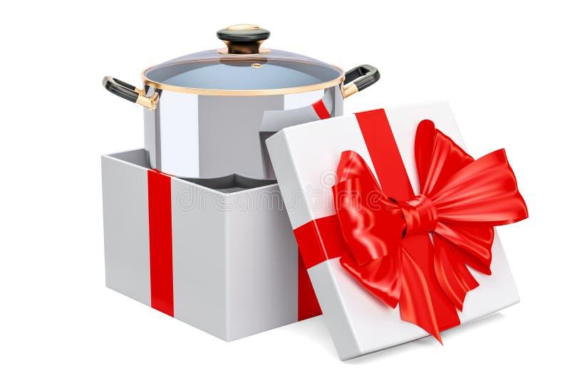 Cottura del vaso inossidabile dentro il contenitore di regalo, concetto del regalo 3d illustrazione di stock
