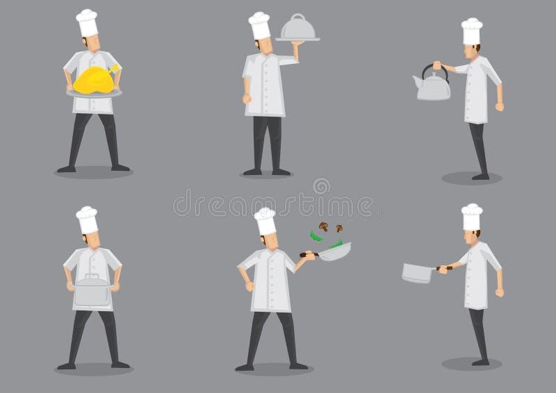 Cottura dell'illustrazione di Cartoon Characters Vector del cuoco unico illustrazione di stock