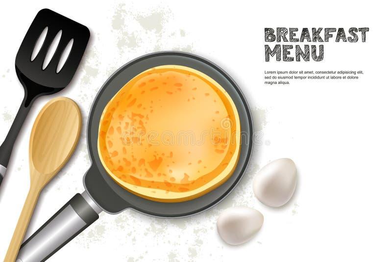 Cottura dell'illustrazione di vettore del pancake Pentola realistica, spatola ed ingredienti di vista superiore isolati su fondo  illustrazione di stock