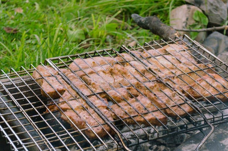 Cottura della carne sui carboni in una radura della foresta campeggio fotografia stock libera da diritti