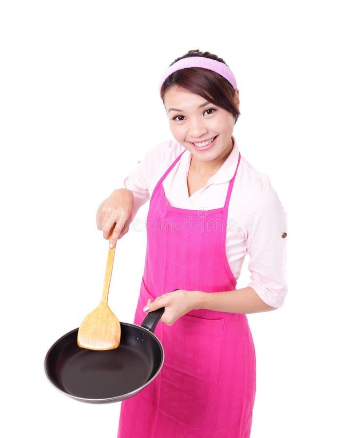 Cottura della casalinga della donna immagine stock