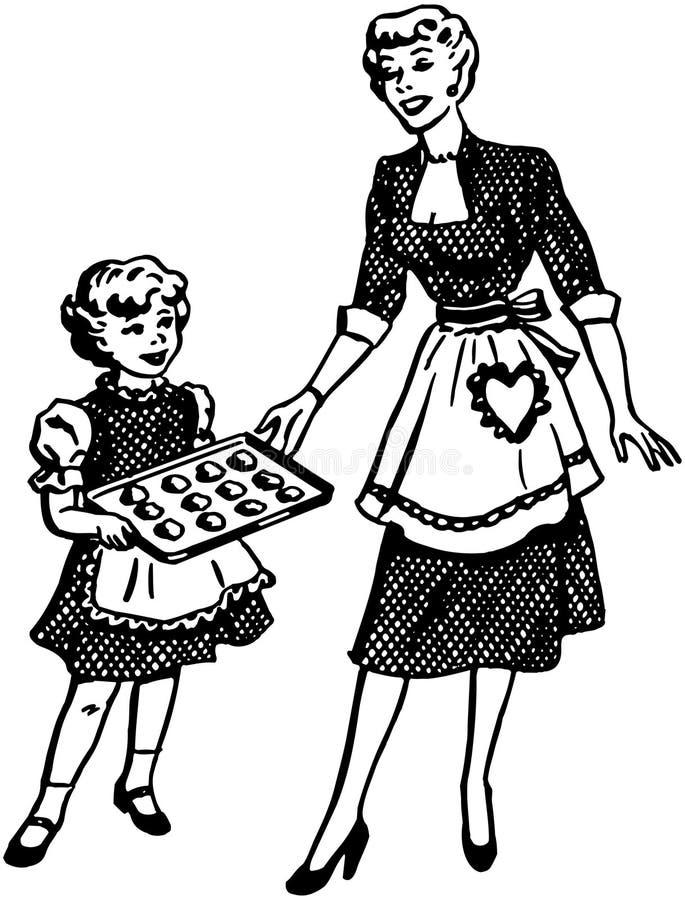 Cottura della figlia e della madre royalty illustrazione gratis