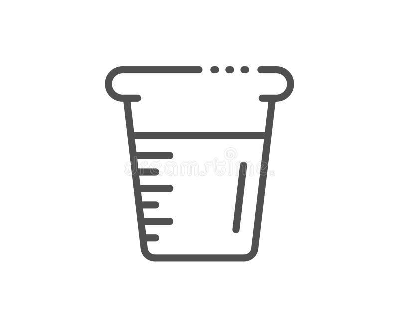 Cottura della linea icona del becher Segno di vetro dell'acqua Tazza di misurazione Vettore royalty illustrazione gratis