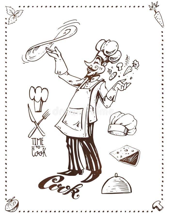 Cottura della pizza Progettazione disegnata a mano del manifesto di vettore illustrazione vettoriale