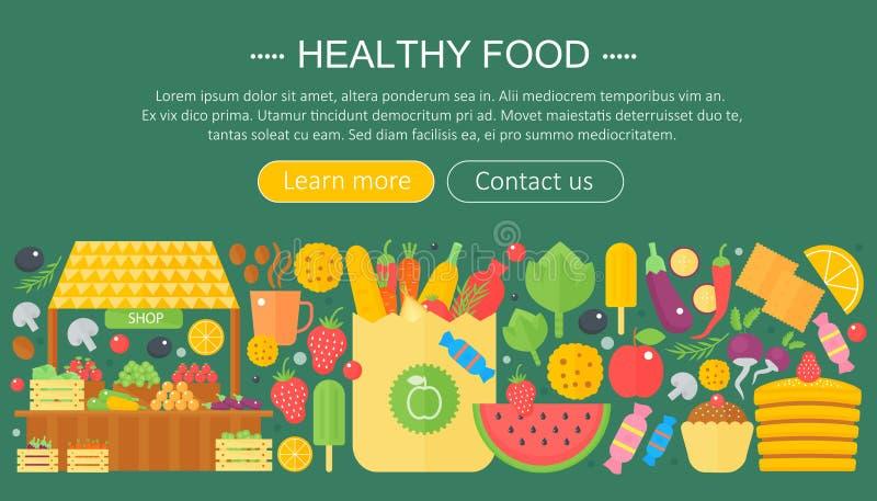 Cottura della raccolta, progettazione sana del modello di infographics dell'alimento, elementi dell'intestazione di web, insegna  illustrazione vettoriale