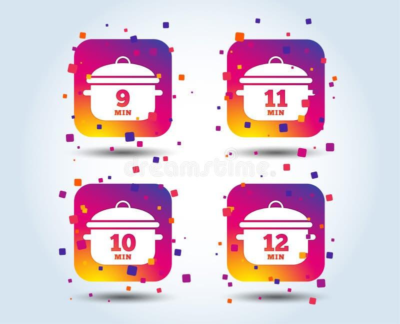 Cottura delle icone della pentola Punto di ebollizione nove, dodici minuti illustrazione vettoriale