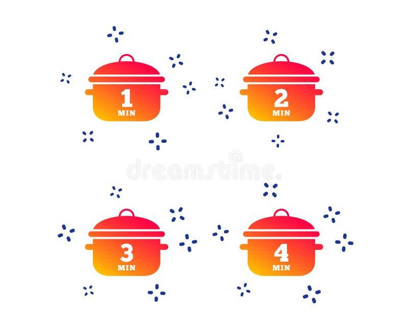 Cottura delle icone della pentola Punto di ebollizione uno, quattro minuti Vettore illustrazione vettoriale