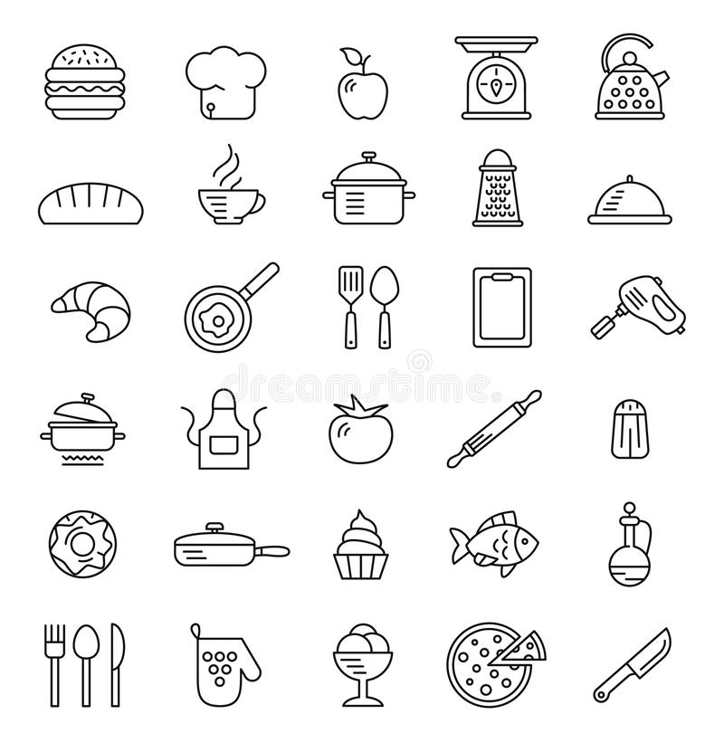Cottura delle icone, simboli di vettore royalty illustrazione gratis