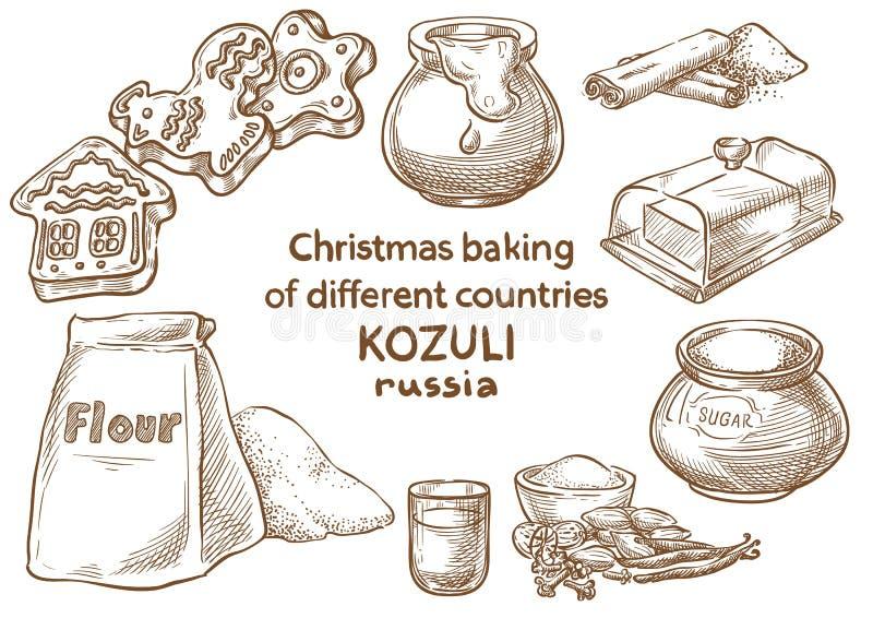 Cottura di natale ingredienti Kozuli russo royalty illustrazione gratis