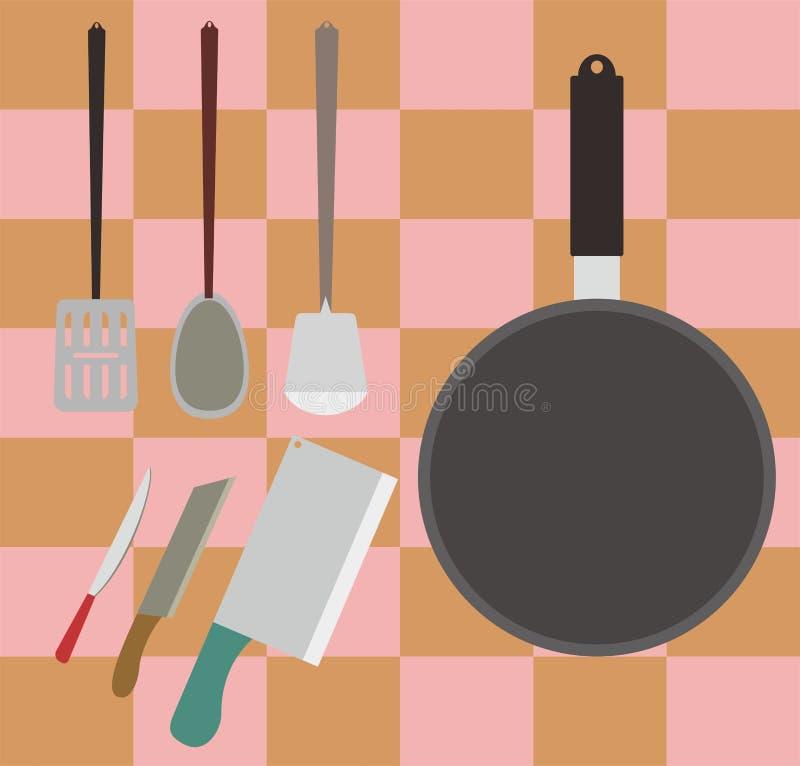 Cottura gli strumenti o della roba dell'attrezzatura sulla cucina nell'illustrazione di vettore illustrazione di stock