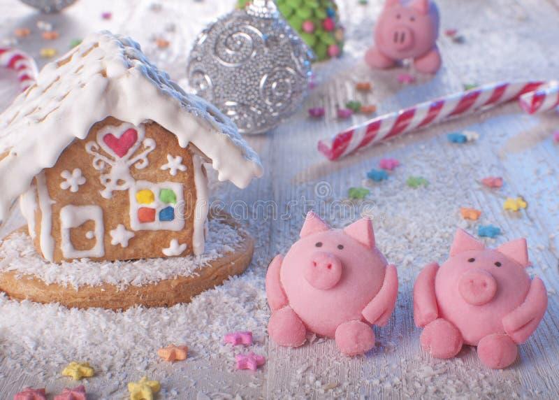 Cottura per vacanze Anno del maiale immagini stock